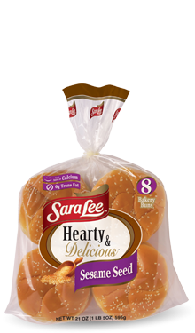 Hamburger Buns, Sara Lee® Hearty & Delicious™ Sesame Seed Hamburger Buns (8 Buns, 21 oz Bag)