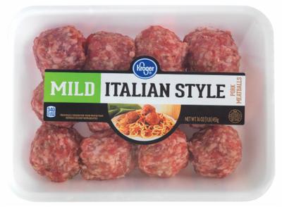 Meatballs, Kroger® Mild Italian Style Pork Meatballs (16 oz Tray)
