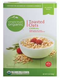 Cereal, Simple Truth Organic™ Toasted Oats Cereal (12 oz Box)
