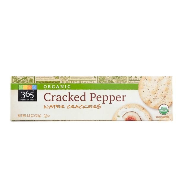 Water Crackers, 365® Organic Cracked Pepper Water Crackers (4.4 oz Box)