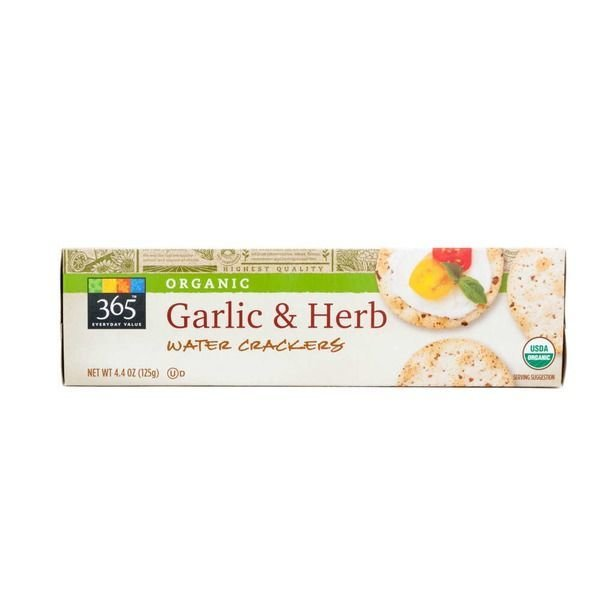 Water Crackers, 365® Organic Garlic & Herb Water Crackers (4.4 oz Box)