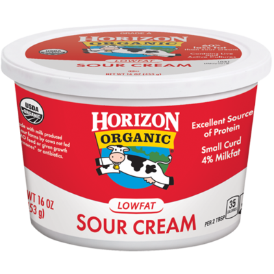 Sour Cream, Horizon® Organic Low Fat Sour Cream (16 oz Cup)