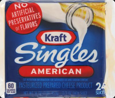 Cheese, Kraft® American Singles Cheese (16 oz Bag, 24 Count)
