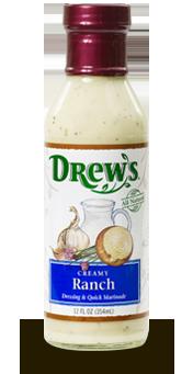 Salad Dressing, Drew's® Creamy Ranch Dressing/Quick Marinade (12 oz Bottle)