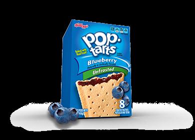 Toaster Pastries, Kellogg's® Pop Tarts® Blueberry, Unfrosted, 14.1 oz Box (8 per Box)