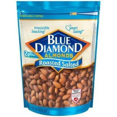 Snack Food, Nuts, Blue Diamond® Almonds, Roasted Salted, 14 oz Bag