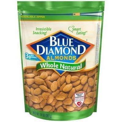 Snack Food, Nuts, Blue Diamond® Almonds, Whole Natural, 14 oz Bag