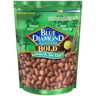 Snack Food, Nuts, Blue Diamond® Almonds, Bold Wasabi & Soy Sauce, 14 oz Bag