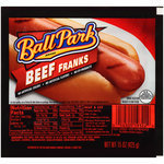 Hot Dogs, Ball Park® Beef Franks, Bun Size, 8 Franks, 15 oz Resealable Bag