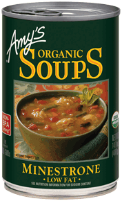 Canned Organic Soup, Amy's® Organic Minestrone Soup, Low Fat (14.5 oz Can)