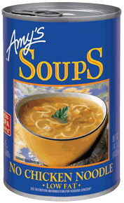 Canned Organic Soup, Amy's® Organic No Chicken Noodle Soup, Low Fat (14.5 oz Can)