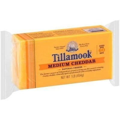 Cheese Block, Tillamook® Block of Medium Cheddar Cheese (16 oz Bag)