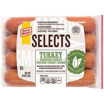 Turkey Hot Dogs, Oscar Mayer® Selects® Turkey Franks, Resealable 16 oz Bag