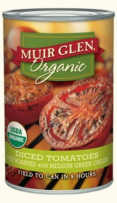 Canned Tomato, Muir Glen® Organic, Diced Tomatoes, Fire Roasted with Green Chilies, 14.5 oz Can
