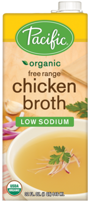 Boxed Organic Broth, Pacific® Organic Low Sodium Free Range Chicken Broth (32 oz Box)