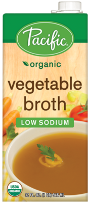 Boxed Organic Broth, Pacific® Organic Low Sodium Vegetable Broth (32 oz Box)