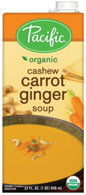 Boxed Organic Soup, Pacific® Organic Cashew Carrot Ginger Soup (32 oz Box)