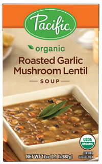 Boxed Organic Soup, Pacific® Organic Roasted Garlic Mushroom Lentil Soup (17.6 oz Box)