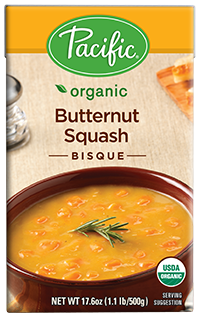 Boxed Organic Soup, Pacific® Organic Butternut Squash Bisque (17.6 oz Box)