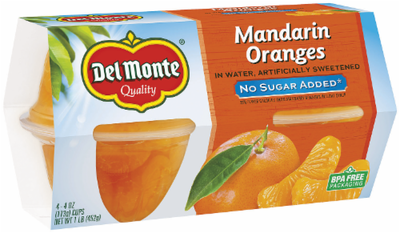 Fruit, Del Monte® Mandarin Oranges, No Sugar Added (4 Cups, 4 oz Cups)