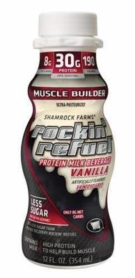 Non-Dairy Milk, Shamrock Farms® Rockin' Refuel Muscle Builder Vanilla Milk (Single 12 fl oz Bottle)