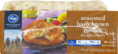 Frozen Potatoes, Kroger® Hash Brown Patties (10 Patties, 22.5 oz Bag)