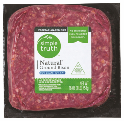 Meat, Simple Truth™ Natural Ground Bison 90% Lean (16 oz Bag)