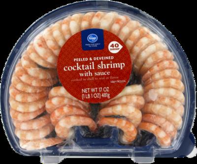Frozen Shrimp, Kroger® Peeled & Deveined Shrimp with Cocktail Sauce (17 oz Tray)