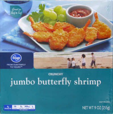 Frozen Shrimp, Kroger® Crunchy Jumbo Butterfly Shrimp (9 oz Box)