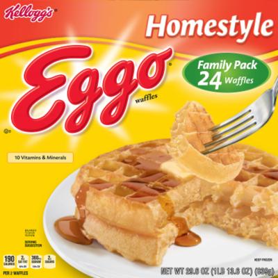 Frozen Waffles, Kellogg's® Eggo® Homestyle® Waffles (24 Count, 29.6 oz Box)