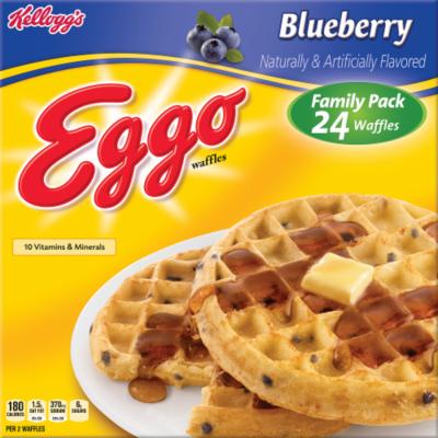 Frozen Waffles, Kellogg's® Eggo® Blueberry Waffles (24 Count, 29.6 oz Box)