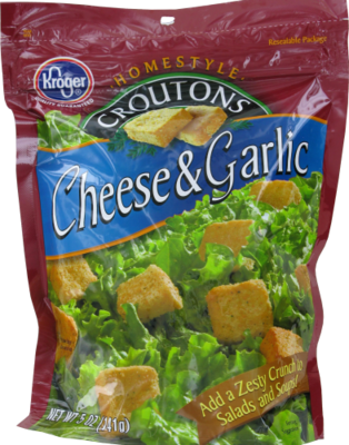 Salad Croutons, Kroger® Cheese & Garlic Croutons (5 oz Bag)