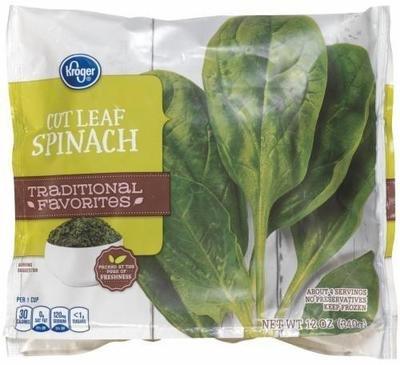 Frozen Spinach, Kroger® Cut Leaf Spinach (12 oz Bag)
