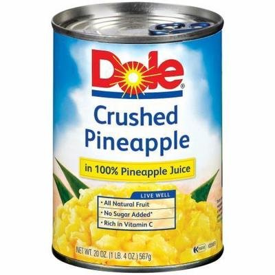 Canned Fruit, Dole® Crushed Pineapple in 100% Juice (20 oz Can)