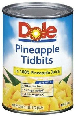 Canned Fruit, Dole® Pineapple Tidbits in 100% Juice (20 oz Can)