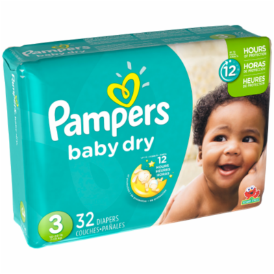 Baby Diapers, Pampers® Size 3 Baby Dry Diapers (32 Count Bag)
