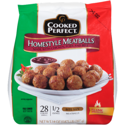 Frozen Meatballs, Cooked Perfect® Homestyle Meatballs (14 oz Bag)