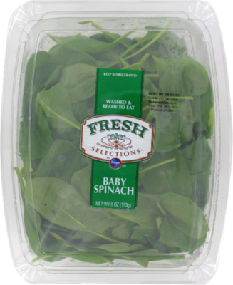 Fresh Salad Greens, Fresh Selections® Baby Spinach (6 oz Tray)