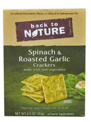 Trail Mix, Back To Nature® Spinach & Roasted Garlic Crackers (6.5 oz  Box)