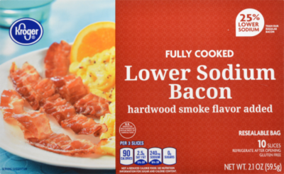 Fully Cooked Bacon, Kroger® Fully Cooked Lower Sodium Bacon (2.1 oz Box)
