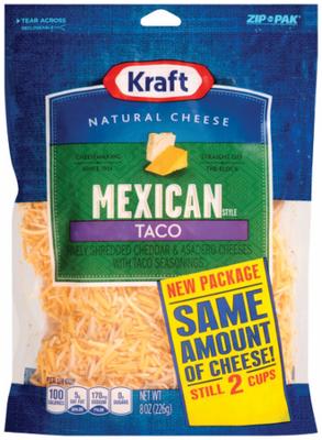 Shredded Cheese, Kraft® Mexican Taco Shredded Cheese (8 oz Resealable Bag)