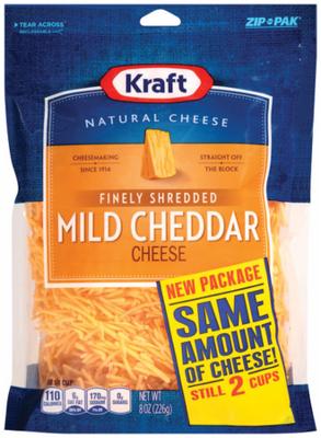 Shredded Cheese, Kraft® Finely Shredded Mild Cheddar Cheese (8 oz Resealable Bag)