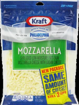 Shredded Cheese, Kraft® Shredded Mozzarella With a Touch of Philadelphia (8 oz Resealable Bag)