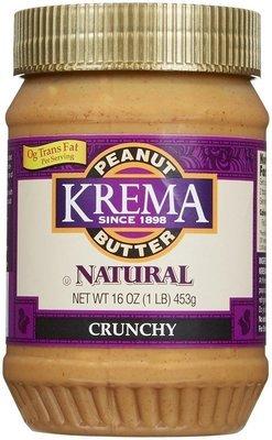 Peanut Butter, Krema® Natural Crunchy Peanut Butter (16 oz Jar)