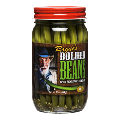 Preserved Green Beans, Rogue's® Bolder Hot Pickled Green Beans (16 oz Jar)