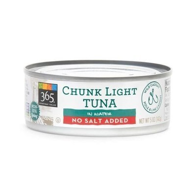 Canned Tuna, 365® No Salt Added Chunk Light Tuna in Water (5 oz Can)