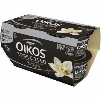 Yogurt, Dannon® Oikos® Triple Zero Vanilla Yogurt (4 Pack, 5.3 oz Cup)