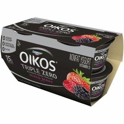 Yogurt, Dannon® Oikos® Triple Zero Mixed Berry Yogurt (4 Pack, 5.3 oz Cup)