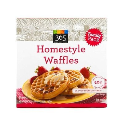 Frozen Waffles, 365® Homestyle Waffles (24 Count 29.6 oz Box)
