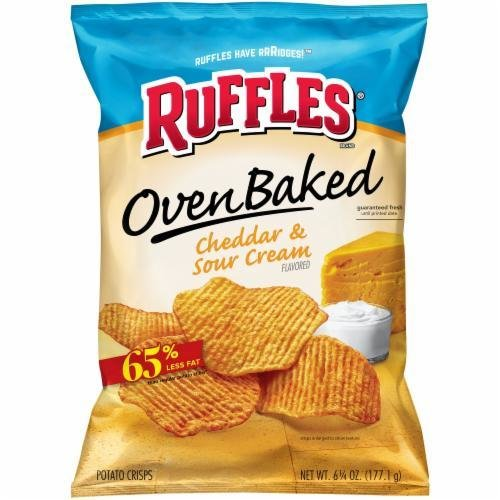 "Potato Chips, Ruffles® ""Regular Size"" Baked Cheddar & Sour Cream Potato Chips (6.25 oz Bag)"